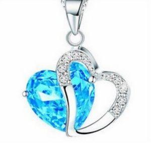 Heart Crystal Rhinestone Alloy Silver Chain